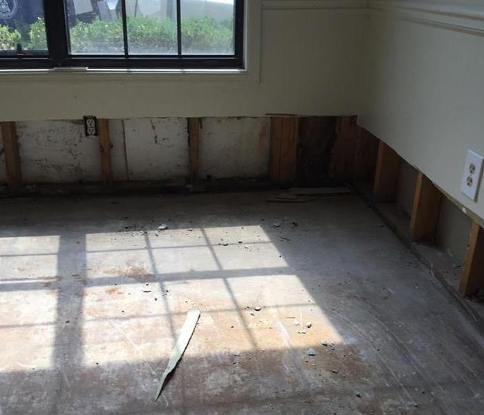 Flood cut in kitchen area to allow drying
