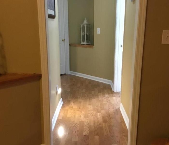 Wet flooring in hallway from bathroom sink overflow