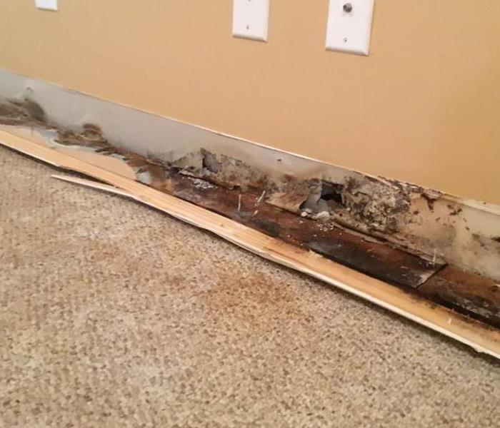 Removing baseboards due to flooding from storm